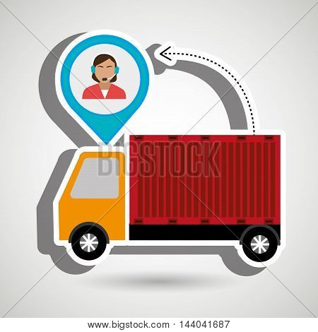 truck delivery cargo pin vector illustration eps 10
