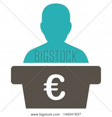 Euro Politician icon. Glyph style is bicolor flat iconic symbol, grey and cyan colors, white background.