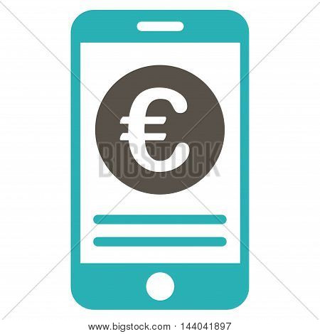 Euro Smartphone Banking icon. Glyph style is bicolor flat iconic symbol, grey and cyan colors, white background.