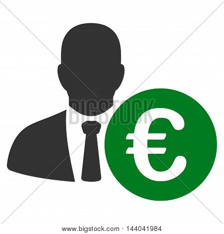 Euro Banker icon. Glyph style is bicolor flat iconic symbol, green and gray colors, white background.