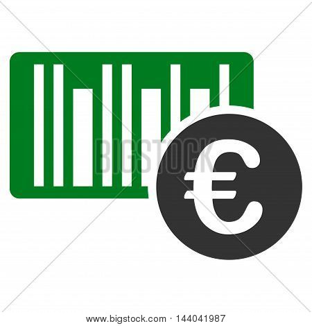 Euro Bar Code Price icon. Glyph style is bicolor flat iconic symbol, green and gray colors, white background.