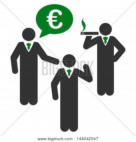 Euro Discuss People icon. Glyph style is bicolor flat iconic symbol, green and gray colors, white background.