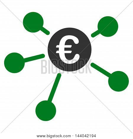 Euro Links icon. Glyph style is bicolor flat iconic symbol, green and gray colors, white background.