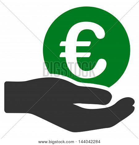 Euro Salary icon. Glyph style is bicolor flat iconic symbol, green and gray colors, white background.