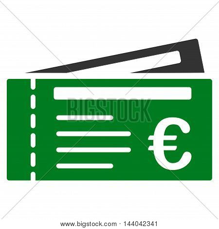 Euro Tickets icon. Glyph style is bicolor flat iconic symbol, green and gray colors, white background.