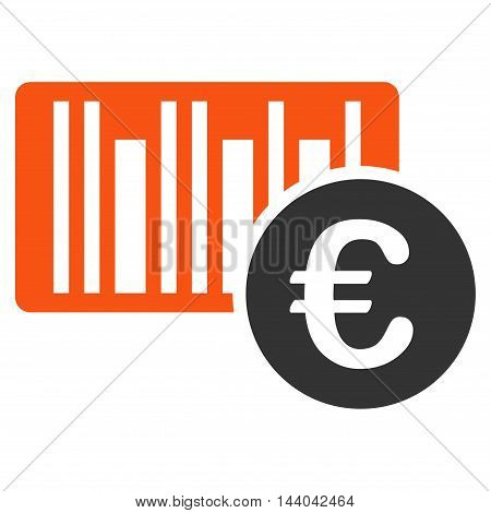 Euro Bar Code Price icon. Glyph style is bicolor flat iconic symbol, orange and gray colors, white background.
