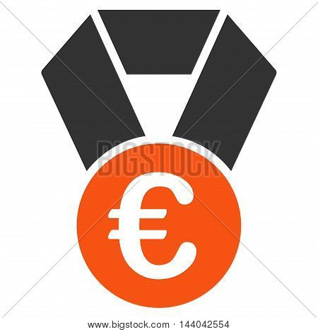 Euro Champion Medal icon. Glyph style is bicolor flat iconic symbol, orange and gray colors, white background.