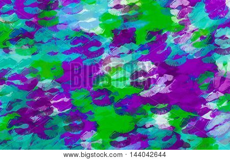purple blue and green kisses lipstick abstract background