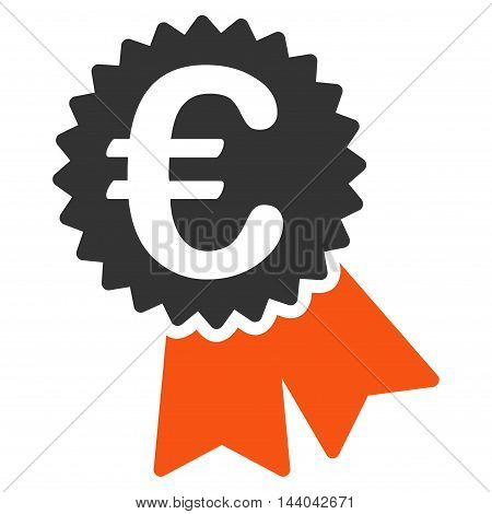 Euro Featured Price Tag icon. Glyph style is bicolor flat iconic symbol, orange and gray colors, white background.