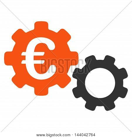 Euro Mechanics icon. Glyph style is bicolor flat iconic symbol, orange and gray colors, white background.