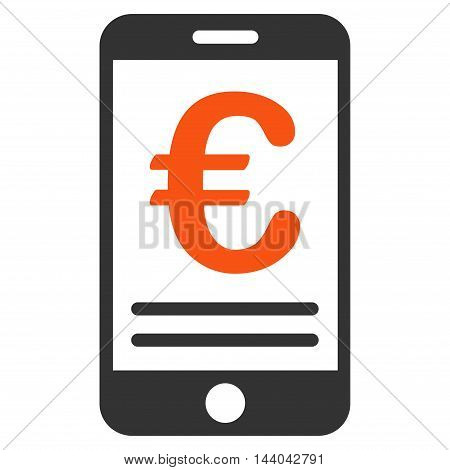 Euro Mobile Banking icon. Glyph style is bicolor flat iconic symbol, orange and gray colors, white background.