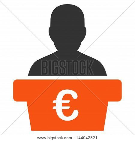 Euro Politician icon. Glyph style is bicolor flat iconic symbol, orange and gray colors, white background.