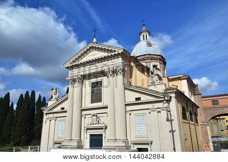 San Rocco all'Augusteo (Saint Roch) neoclassical facade with angels in the center of Rome
