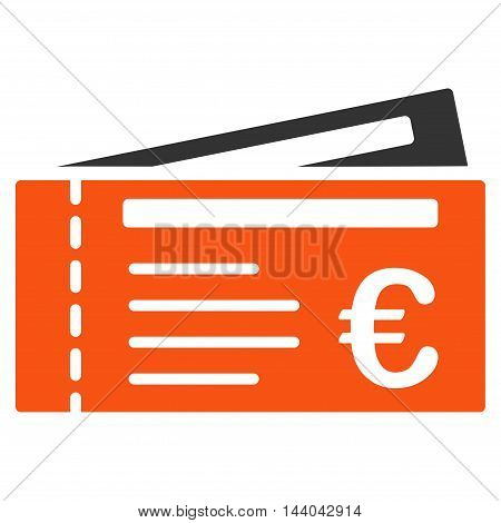 Euro Tickets icon. Glyph style is bicolor flat iconic symbol, orange and gray colors, white background.