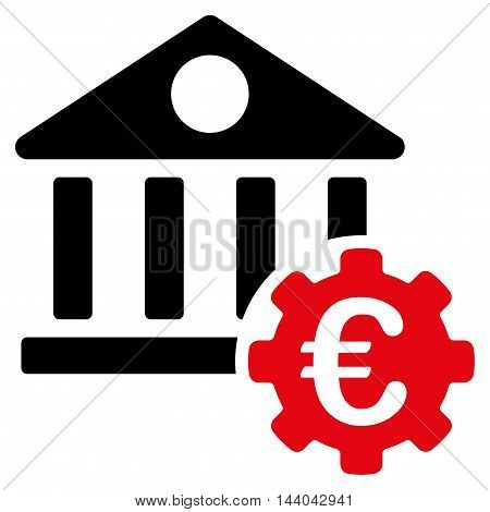 Euro Bank Building Options icon. Glyph style is bicolor flat iconic symbol, intensive red and black colors, white background.