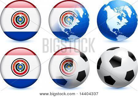 Paraguay Flag Button with Global Soccer Event Original Illustration