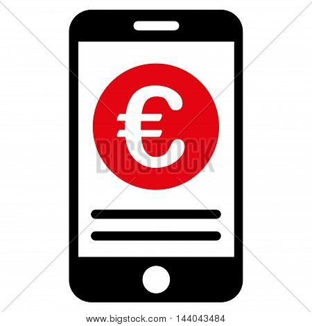 Euro Smartphone Banking icon. Glyph style is bicolor flat iconic symbol, intensive red and black colors, white background.