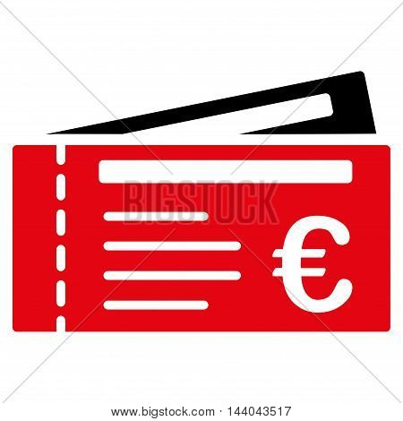 Euro Tickets icon. Glyph style is bicolor flat iconic symbol, intensive red and black colors, white background.