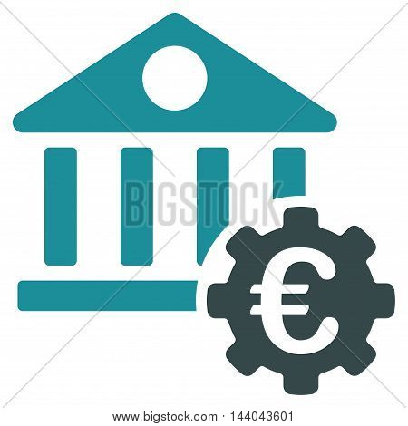 Euro Bank Building Options icon. Glyph style is bicolor flat iconic symbol, soft blue colors, white background.