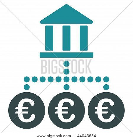 Euro Bank Transactions icon. Glyph style is bicolor flat iconic symbol, soft blue colors, white background.
