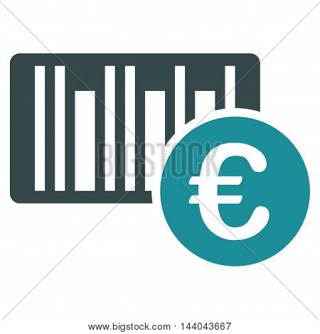Euro Bar Code Price icon. Glyph style is bicolor flat iconic symbol, soft blue colors, white background.