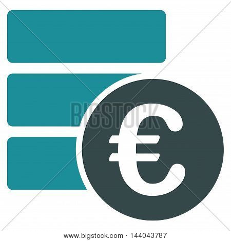 Euro Database icon. Glyph style is bicolor flat iconic symbol, soft blue colors, white background.