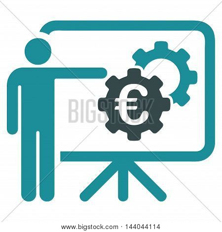 Euro Industrial Project Presentation icon. Glyph style is bicolor flat iconic symbol, soft blue colors, white background.