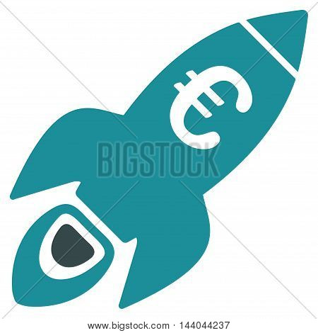 Euro Rocket Startup icon. Glyph style is bicolor flat iconic symbol, soft blue colors, white background.