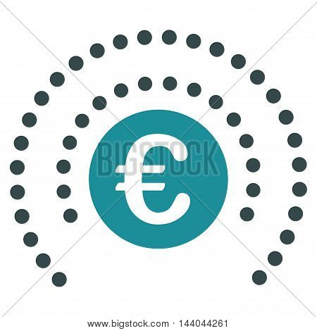 Euro Shield Sphere icon. Glyph style is bicolor flat iconic symbol, soft blue colors, white background.