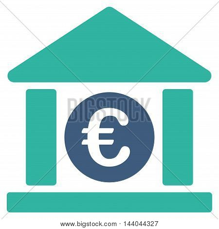 Euro Bank Building icon. Glyph style is bicolor flat iconic symbol, cobalt and cyan colors, white background.