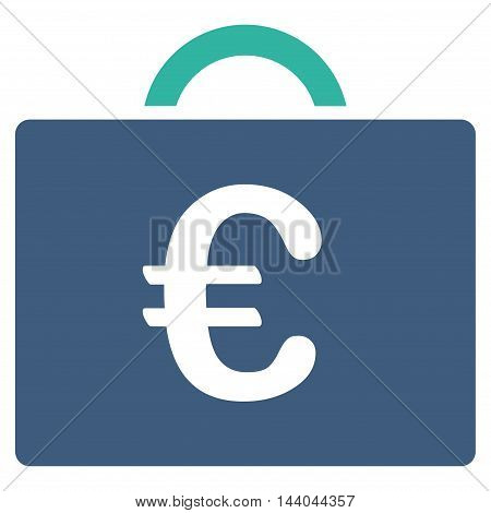 Euro Bookkeeping Case icon. Glyph style is bicolor flat iconic symbol, cobalt and cyan colors, white background.