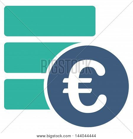 Euro Database icon. Glyph style is bicolor flat iconic symbol, cobalt and cyan colors, white background.