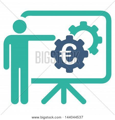 Euro Industrial Project Presentation icon. Glyph style is bicolor flat iconic symbol, cobalt and cyan colors, white background.