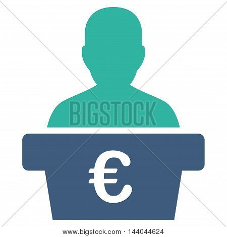 Euro Politician icon. Glyph style is bicolor flat iconic symbol, cobalt and cyan colors, white background.