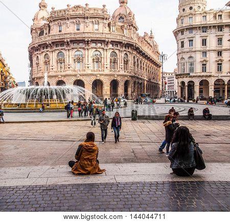 Piazza De Ferrari In Genoa (hdr)