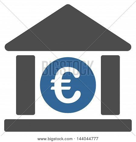 Euro Bank Building icon. Glyph style is bicolor flat iconic symbol, cobalt and gray colors, white background.