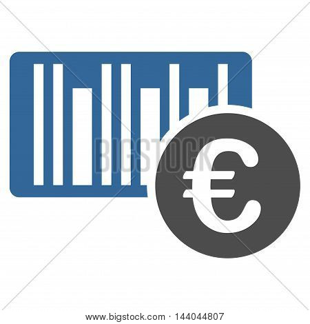 Euro Bar Code Price icon. Glyph style is bicolor flat iconic symbol, cobalt and gray colors, white background.