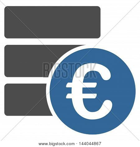 Euro Database icon. Glyph style is bicolor flat iconic symbol, cobalt and gray colors, white background.