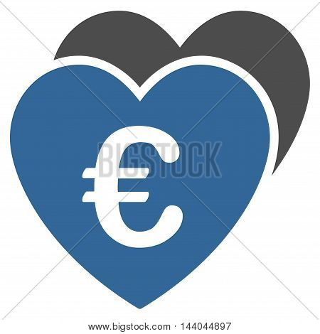 Euro Favorites Hearts icon. Glyph style is bicolor flat iconic symbol, cobalt and gray colors, white background.
