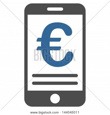Euro Mobile Banking icon. Glyph style is bicolor flat iconic symbol, cobalt and gray colors, white background.