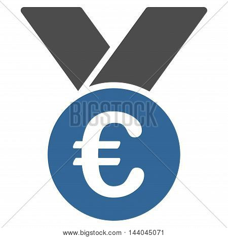Euro Prize Medal icon. Glyph style is bicolor flat iconic symbol, cobalt and gray colors, white background.
