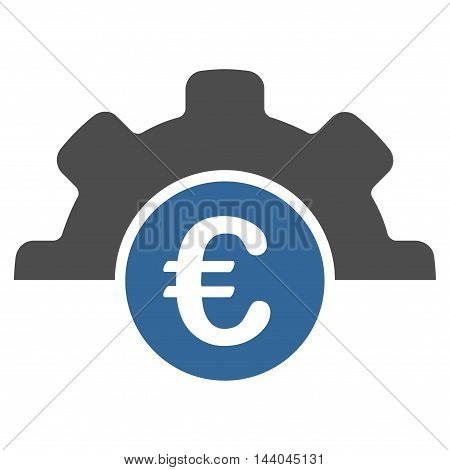 Euro Technology icon. Glyph style is bicolor flat iconic symbol, cobalt and gray colors, white background.