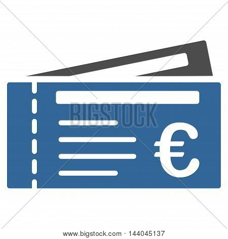 Euro Tickets icon. Glyph style is bicolor flat iconic symbol, cobalt and gray colors, white background.