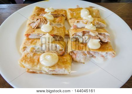 crispy pancake named -roti-fried bread with butter and egg