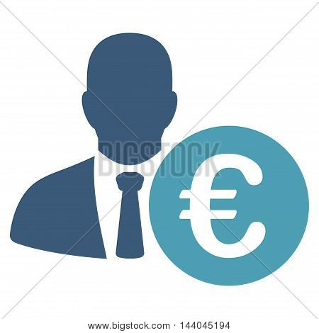 Euro Banker icon. Glyph style is bicolor flat iconic symbol, cyan and blue colors, white background.