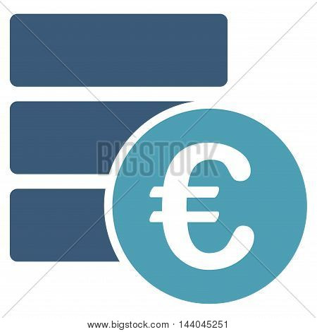 Euro Database icon. Glyph style is bicolor flat iconic symbol, cyan and blue colors, white background.