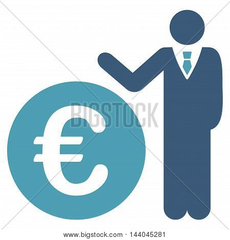 Euro Economist icon. Glyph style is bicolor flat iconic symbol, cyan and blue colors, white background.