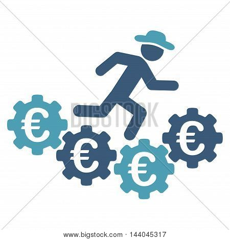 Euro Gears Runner icon. Glyph style is bicolor flat iconic symbol, cyan and blue colors, white background.