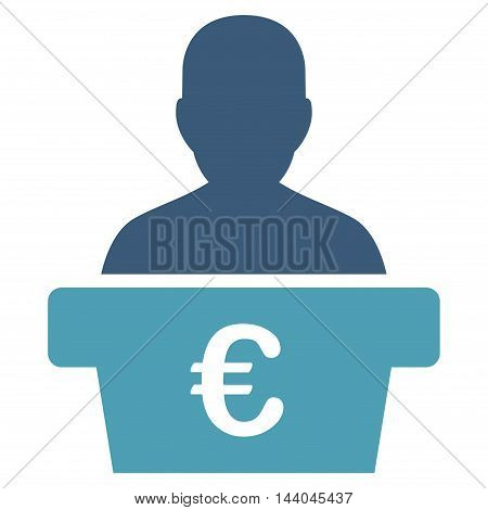 Euro Politician icon. Glyph style is bicolor flat iconic symbol, cyan and blue colors, white background.