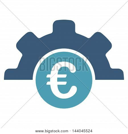 Euro Technology icon. Glyph style is bicolor flat iconic symbol, cyan and blue colors, white background.